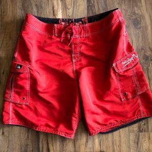 quiksilver red board shorts swim trunks Sz 40